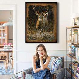 Ilustraciones de ciervos online-Impresión en lienzo Arte de La Pared Pintura Para La Decoración Casera Ciervos Giclee Moderno Estirado Ilustraciones La Imagen Para la Sala de estar Decoratio