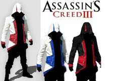 Wholesale Connor Costume - Hot Sale Custom handmade Fashion Assassins Creed 3 III Connor Kenway Hoodies Costumes Jackets Coat 8 colors choose direct from factory