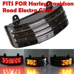 Wholesale Tri Glides - Motorcycle Smoke Tri-Bar Rear Fender LED Tail Brake Signal Light For Harley Touring Street Glide
