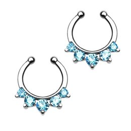 Wholesale Cz Ear Rings - 10pcs 16G Steel Nose Rings Fake Septum Clicker Nose Rings Ear Cartilage CZ Body Piercing Fashion Nariz Body Jewelry