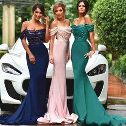 Wholesale Pictures Pink Hearts - Off Shoulder Floor Length Mermaid Sexy Evening Dresses 2018 Sweet Heart Sequins Cutsom Made Evening Gowns