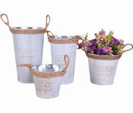 Wholesale Galvanized Metal Buckets Wholesale - 10PCS Pastorale Retrostyle White Pitcher Rustic Chic cylindrical Galvanized Metal Buckets with Rope Handle For Home Flower Decoration Vases