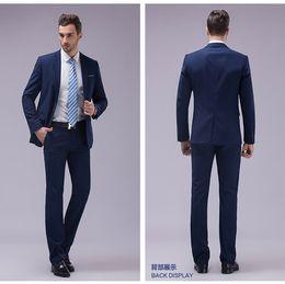 Wholesale Western Tuxedos - Gentleman Handsome Western Style Blue Groom Tuxedos Peak Lapel Best Man Suits Mens Wedding Suits (Jacket+Pants+Tie)