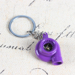 Wholesale New Design Leather Key Chain - New Design Spin Sleeve Bearing Car Auto Parts Nos Turbine Turbocharger Purple Charm Pendant Key Ring Chain Creative Party Gift