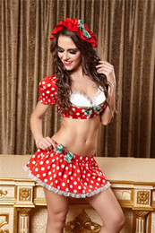 hat sex Promo Codes - Hat+Top+Dress Dotted Servant Lingerie Set Maid cosplay Costume Sleepwear Women Babydoll Suit Underwear Sex Toy stage performance