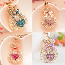 Wholesale Souvenir Purse - 2016 New Fashion gold-plated charm trinket Fukubukuro diamond purse car keychains novelty bag Pendant key chain Souvenir girlfriend gift
