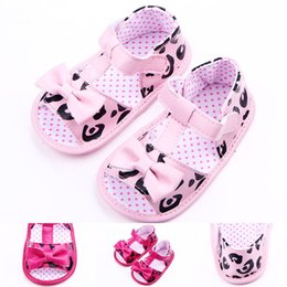 Wholesale Girls Ties Pink - New Arrival Baby Girl Sandals Leather with Big Bowknot T-tied Ankle Protection Rose Pink Soft Sole