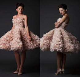 Wholesale Strapless Mini - 2016 Krikor Jabotian Ball Gown Short Wedding Dresses Charming Blush Pink Organza Flowers Vestido De Noiva Sexy Strapless Bridal Gowns