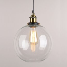 Wholesale Clear Glass For Pendants - 9 X 9 Inch Globe Vintage Industrial Ceiling Lamp Clear Glass Chandelier Pendant lighting for kitchen island Loft Shade Fixture