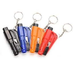 Wholesale Safety Belt Cutter - Free DHL 3 in 1 Car Window Glass Safety Emergency Hammer Seat Belt Cutter Tool Keychain