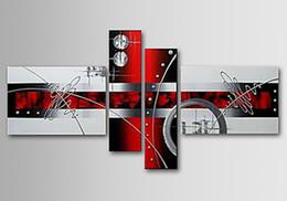 Peint à la main sur toile art mural lignes abstraites 4pcs / set décor à la maison, CX4084 ? partir de fabricateur