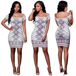 Wholesale Show Bandage Dresses - 2016 New Fashion Clubwear Bandage Dress Off Shoulder Backless Slim Printed Dress Party Casual Dresses Sexy Package Hip Show Thin Bodysuit