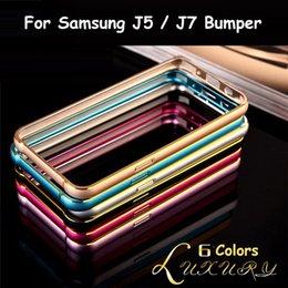 Wholesale Cross Line Case - Double color gold edge Ultra Slim Thin 0.6mm Screwless Hippocampus Buckled Cross line Case Metal Bumper for iPhone 6 6 plusJ500 J7 J700 Case