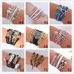 Wholesale Leather Letter Bracelets - 55 styles Infinity Bracelets Charm Bracelet fashion Leather Bracelets DIY Antique Cross Bracelets 2 hearts letters Love believe bracelet