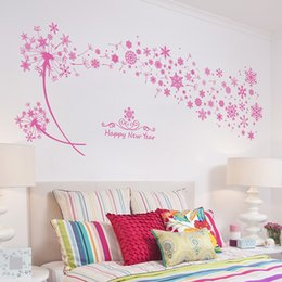 Wholesale snowflake decals stickers - Pink Snowflakes Dandelion Wall Stickers Living Room Bedroom Wall Decals Removable PVC Wall Art Mural Poster Wallpaper Decor DIY Decoration