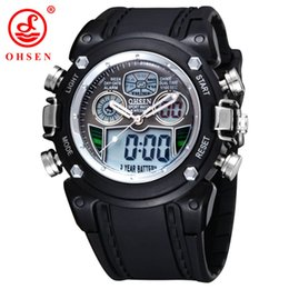 Wholesale Backlight Stopwatch - OHSEN Military Army LCD Quartz Watch Mens Sport Date Day Stopwatch Backlight Black Rubber Band Wristwatch Swimming Watches