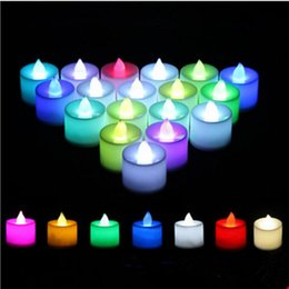 Wholesale Flameless Tea Lights Blue - Smokeless Flameless Electronic Flash night tea lamp Romantic remote control led candle light with remote Weding Party DIY Decor
