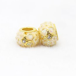 Wholesale Sports Columns - 10 Pcs a Lot Gold Plated Big Hole Column Heart Alloy Beads DIY Spacer Chunky Charm Bead Fit For Pandora Charms Rhinestone Bracelets