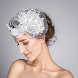 Wholesale Ladies Feather Hair Accessory - 2016 New White Wedding Bridal Hat Vintage Handmade Gauze Feather with Crystal Hat Lady Elegant Party Headdress Hair Accessories
