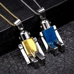 Wholesale Robot Ornaments - Fashion Man Transformers Robot Pendant ornament 1.5*3cm with necklace retail box Titanium 304 stainless steel Creative Couple jewelry Gift