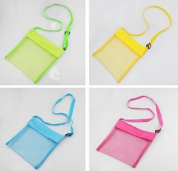 Wholesale Wholesale Bags For Sand - 2016 Children Kids 23*23cm Sand Bags Beach Bag Mesh Tote Organizer Toy Treasures Bags for Sea Shell Storage Bags