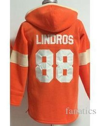Wholesale Fleece Sewing - wholesale hockey hoody jersey Flyers #88 Eric Lindros Orange Hoodie Fleece Hoodie Jersey Sewing Embroidery Logo