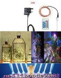 Wholesale Led Christmas Lights Power Adapter - LED String 10M 33ft 100 LEDs DC 12V Christmas Fairy Lights Copper Wire Starry String Light Dimmable Remote Controller Power Adapter MYY