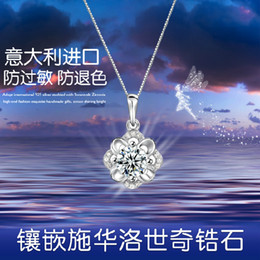 Wholesale Party Explosions - Hot explosion models high-grade diamond eternity flower pendant necklace female S925 silver jewelry wholesale manufacturers