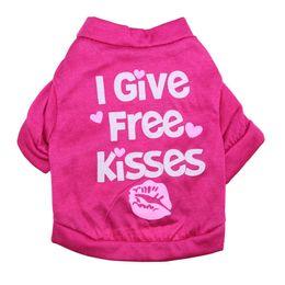 Wholesale Kisses Shirt - New Arrival Cute Pet Dog Supplies Puppy Cat Apparel Vest Coat Clothes I give free kisses T-shirt XS-L