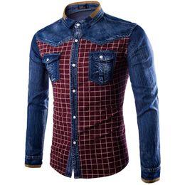 Wholesale Blue Denim Blouse - Wholesale- 2017 Fashion Men Denim Shirts Long Sleeve Camisa Masculina Denim Blue Plaid Shirt Casual Retro Washed Blouses Chemise Homme