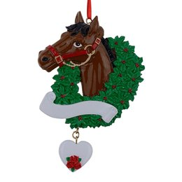 horse with wreath personalized christmas ornaments as craft souvenir for gifts or for home decorations - Horse Christmas Decorations Uk