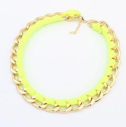 Wholesale Statement Necklace Neon Women - 2016 New fashion jewelry Neon color alloy rope weave Statement chain link choker Necklaces for Women girl ladies' Gift