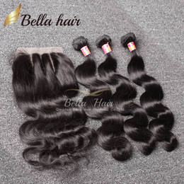 Wholesale 16 Inches Hair - 7A Brazilian Hair Bundles with Closure 8-30 Double Weft Human Hair Extensions Dyeable Hair Weaves Closure Body Wave Wavy Free Shipping