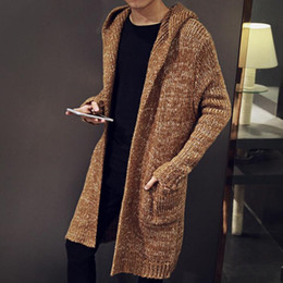 Wholesale Mens Wool Jerseys - Hot Autumn Winter Loose Long Mens Cardigans Sweaters New Fashion Big Size Jumpers Mens Hooded Sueter Knit Sweater Jersey Sudaderas