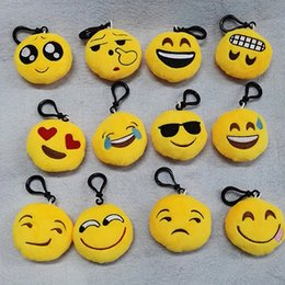 Wholesale Copper Holders - 10pcs 6*2.5cm Cute Lovely Emoji Smile keychain Yellow QQ Expression face key chain key rings hang doll toy for bag car