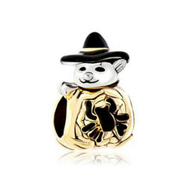 Wholesale Halloween Bracelet Spider - Halloween Gold Cute Spider Pumpkin Snowman With Classic Black Gentleman Hat bead European Fits Pandora Charm Bracelet