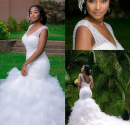 Wholesale Mermaid Lace Layers Wedding Dress - Saudi Arabia Plus Size Wedding Dresses Mermaid Deep V Neck Beading Layers Tiered Chapel Train African 2016 Beach Wedding Summer Bridal Gown