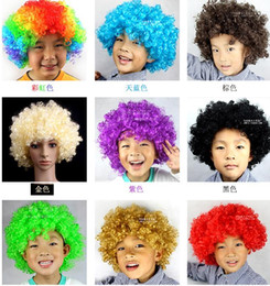 Wholesale Curly Hat - Unisex Clown Fans Carnival Wig cap hat Disco Circus Fancy Dress Party Stag Do Fun Joker Adult Child Costume Afro Curly Hair Wig party props