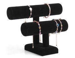 Balck Amovible 2 Couches Velours Bijoux Bracelet Collier Montre Présentoir Angle de Support Titulaire T-bar Multi-style en option Livraison gratuite ? partir de fabricateur