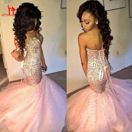 Wholesale Red Long Robe - Sparkly Sequins Long Mermaid Prom Evening Dresses 2016 Robe de Soiree Sweetheart Floor Length Party Gowns Lace Up Back
