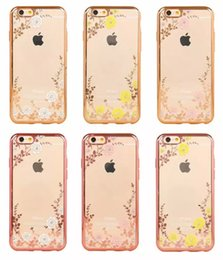 Wholesale Luxury Garden Wholesale - for Iphone6 6Plus 7 7plus Newest Luxury Diamond Electroplate Frame Bling Soft TPU Case Secret Garden Flower Clear Butterfly DHL Free SCA106