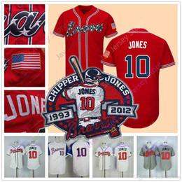 Wholesale Atlanta Baseball Jersey - Chipper Jones Jersey with Retirement Patch Atlanta Braves 1995 World Series Stitched Cool Base Red White Cream Dark Blue