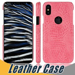 Wholesale Pink Iphone Skins - For iPhone X Ultra thin Slim Crocodile Skin Grain PU Leather Hard Full Back Protective Case For iPhone 6 7 8 Plus Samsung S7 Edge S8 Plus