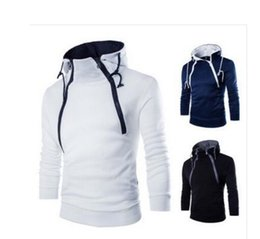 Wholesale Double Collar Hoodie Men - Men Clothing 2016 New Fashion Front Double Zipper Design Thickened Men Hoodies Long Sleeved Casual Sports Tshirts