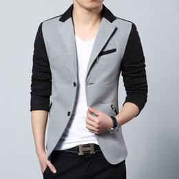 Wholesale Korean Slim Fit - New Arrival 2017 Fashion Casual Cotton Slim Fit Korean Suit Blaser Masculino Male Jacket Men Blazer Designs Gray Size M-3XL