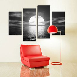 Wholesale Canvas Full Moon - 4 Pieces Canvas Wall Art Bright Full Moon black and white Sea Level Picture Landscape Painting For Home Decoration with Wooden Framed