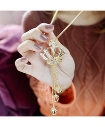 Wholesale Crown Tassel Necklace - Fashion Coat Chain Elegant Rhinestone Crown Tassel Sweaterchain Pendant Long Necklace Korean Style Chain