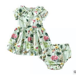Wholesale Dress Doll Print - Toddler kids outfits cute baby girls doll collar floral printed pleated dress+shorts 2pcs sets Infants Farmhouse Style outfits G0832