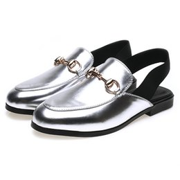 Wholesale Silver Closed Toe Heels Low - Summer Breathable Casual shoes Fashion Women's Low heel elastic band Leather shoes Round toe in 35-39