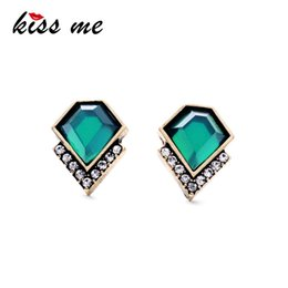 2021 fábrica de ms Al por mayor-Ms Fashion Classic Emerald Geometric Crystal Stud Earrings Factory Wholesale